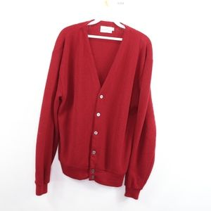 80s Mens Large Button Up Cardigan Sweater Red